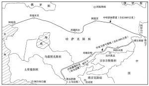 图1 中哈原油管道和中亚天然气管线示意