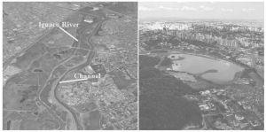 图3 公园及其与河流的关系示意