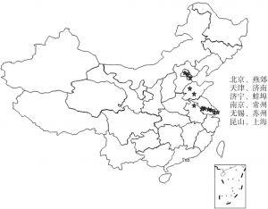 图1-2 2012年京沪高铁沿线国家高新技术园区分布