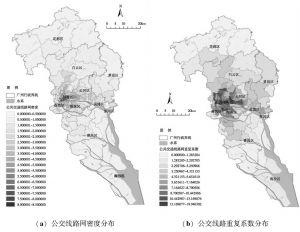 图8 2011年广州市各镇街公交线路网密度及重复系数分布