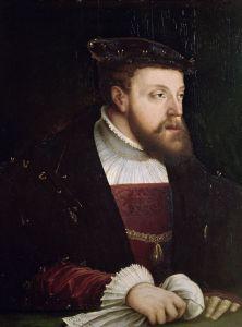 查理五世(1500—1558)。作为神圣罗马帝国皇帝和西班牙的统治者,查理统治了大片地域。他还是阿拉贡凯瑟琳的外甥,这让他跟亨利八世的关系日益紧张。