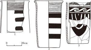 图5-9 牛河梁遗址与胡头沟遗址出土彩陶筒形器比较