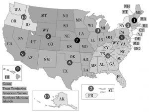 图1 美国环保署下属的十个地方管理分支机构