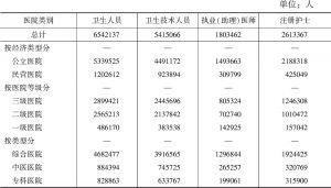 表20 医院卫生人员数(2016年)