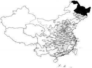 图1-7 全国抽样框130个区/市/县分布图