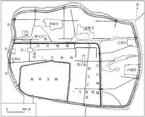 图1-9 曲阜鲁国故城遗址平面图