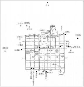 图18-3 隋大兴、唐长安城礼制建筑分布示意图