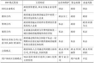 表2 PPP模式类型及特征