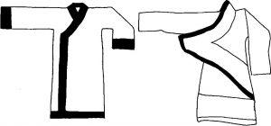 图1-2 直裾深衣(左)与曲裾深衣(右)