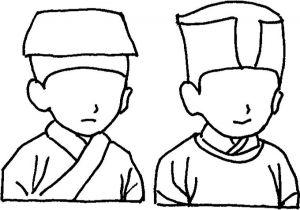 图1-4 交领(左)与圆领(右)