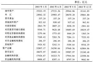 表1-1 货币当局资产负债表(2003年)