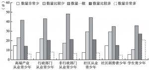 图4 青少年自评六类群体得到服务的数量占比情况