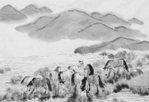 图2 画家杨立强先生作品《为文学八骏而作》