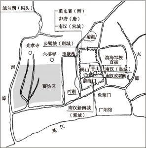 图1-1 唐代广州城墙范围和城西的蕃坊位置