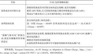 表1 2013年适应气候变化战略的目标和行动