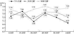 图3 不同年龄组在个人、关系和国家自豪水平上的差异