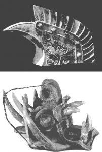 图10-17 上京城遗址出土的陶鸱尾、三彩陶兽头