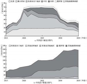 图7 中国的管道天然气和液化天然气进口量
