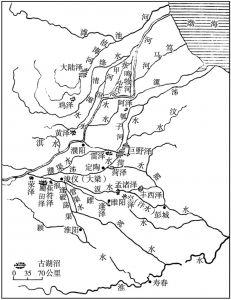 图8 西汉时期黄河下游分流、岔道和湖沼分布图