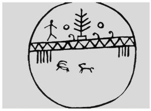 图14-9 阿尔泰人萨满神鼓上的萨满树