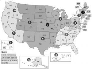 图1 美国环保局下属的十个地方管理分支机构