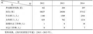 表11 2012~2014年四川省城市养老服务机构基本情况