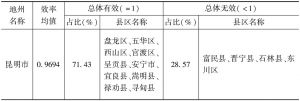 表8-4 云南省分州(市)财政红利总体效率情况