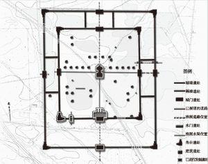 """图4 2007年发表的""""元中都宫城建筑布局示意图"""""""