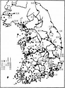 十四至十五世纪朝鲜半岛地区倭寇的活动(根据津田左右吉的原图)