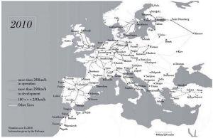 图2 欧盟地区高速铁路现状