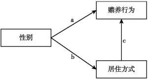 图1 性别影响赡养行为的两条路径