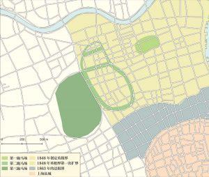 图1 上海跑马场三次迁移