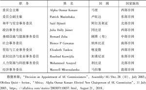 表1 非盟委员会第一届选举结果(2003年)