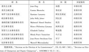 表2 非盟委员会第二届选举结果(2008年)