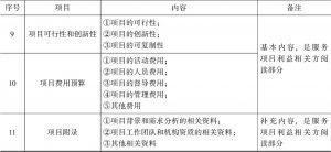 表6-1 服务项目书的基本内容安排-续表