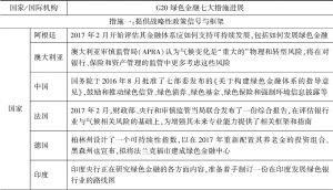 表6-1 G20绿色金融七大措施进展