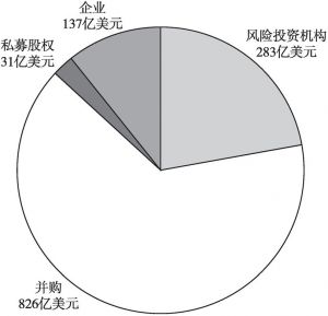 图7 2019年全球金融科技市场分投资主体投资金额