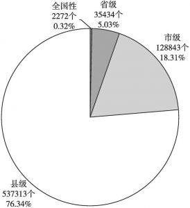 图5 2019年社会组织级别分布情况