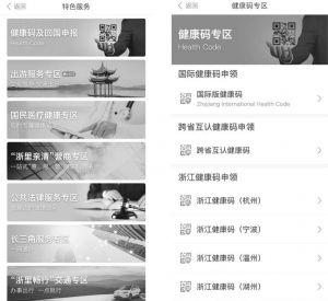 """图15 浙江省""""浙里办""""政务服务移动客户端""""健康码及回国申报""""服务专区及详情页"""