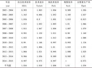 表8-5 海峡西岸城市群20个城市各年份平均Malmquist指数及其分解