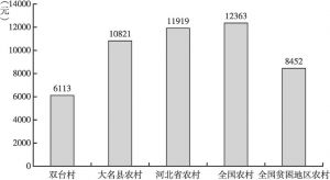 图2-2 2016年双台村、大名县、河北省、全国及全国贫困地区农村居民平均收入水平