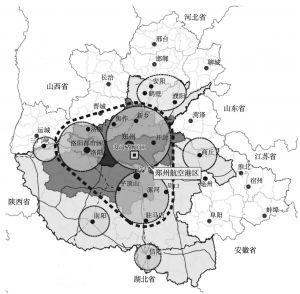 图5 河南省宏观工业布局(一港、二区、三心)示意图