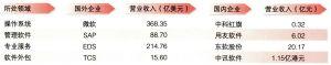 2003年中国软件企业与国际企业营业收入比较