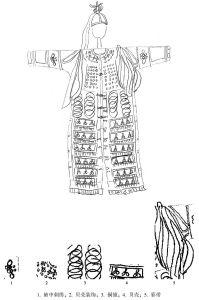 图2-13 达斡尔族萨满神服(宋小飞手绘)
