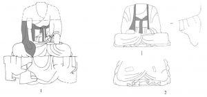 图2-1-4 栖霞山石窟中衣搭肘式佛衣