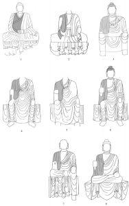 图5-4-3 须弥山石窟中衣搭肘式佛衣