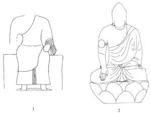 图6-2-7 龙门石窟袒右式佛衣