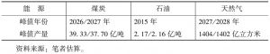 表6-3 无约束情形下能源供给预测