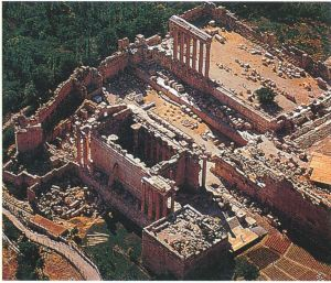 巴勒贝克罗马古迹鸟瞰图
