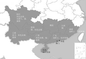 图4-26 泛珠三角地区资源分布示意